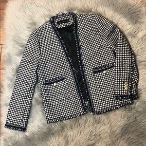Zara Tweed Navy White Houndstooth Fringe Jacket